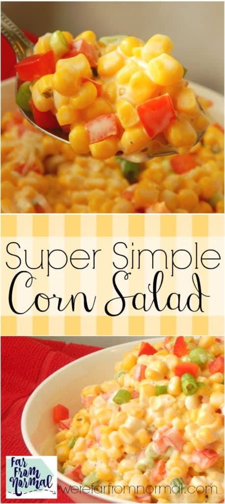 How easy is this With only 4 ingredients this simple corn salad is so delicious and super quick! Great for picnics & cookouts!