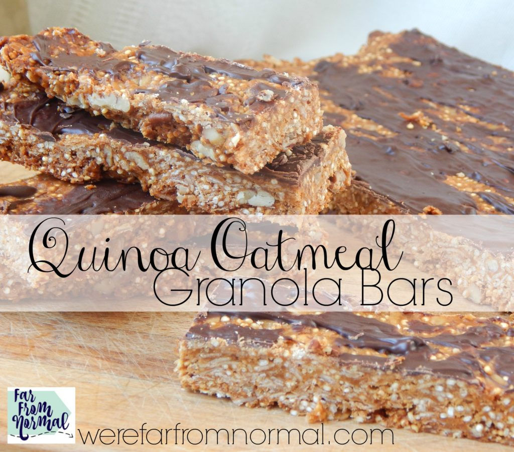 These quinoa oatmeal granola bars are perfect! A great combination of chewy, crunchy and just the right amount of sweet full of healthy quinoa!