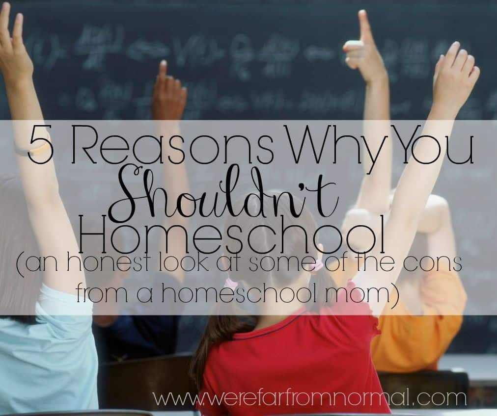 5 Reasons why you shouldn't homeschool. A homeschooling mom takes an honest look at some of the harder parts of homeschooling.