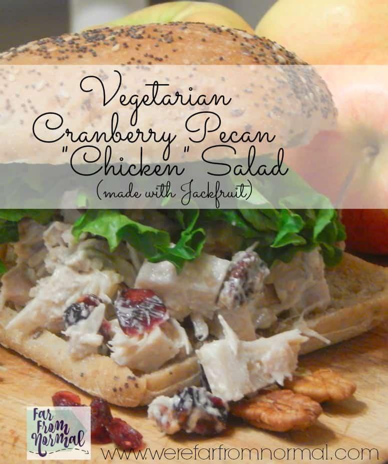 """Vegetarian Cranberry & Pecan """"Chicken"""" Salad {Made with Jackfruit!}"""