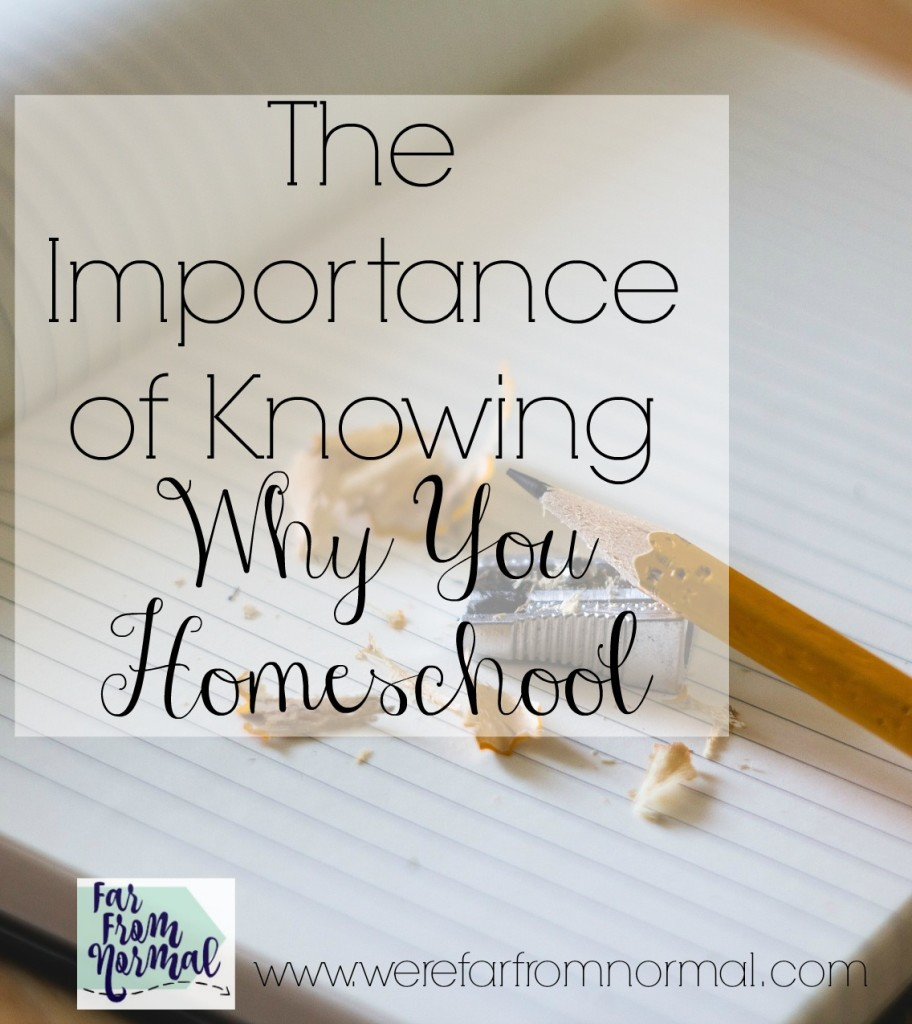 Why do you homeschool? Knowing the answer to that question can help you through tough days.