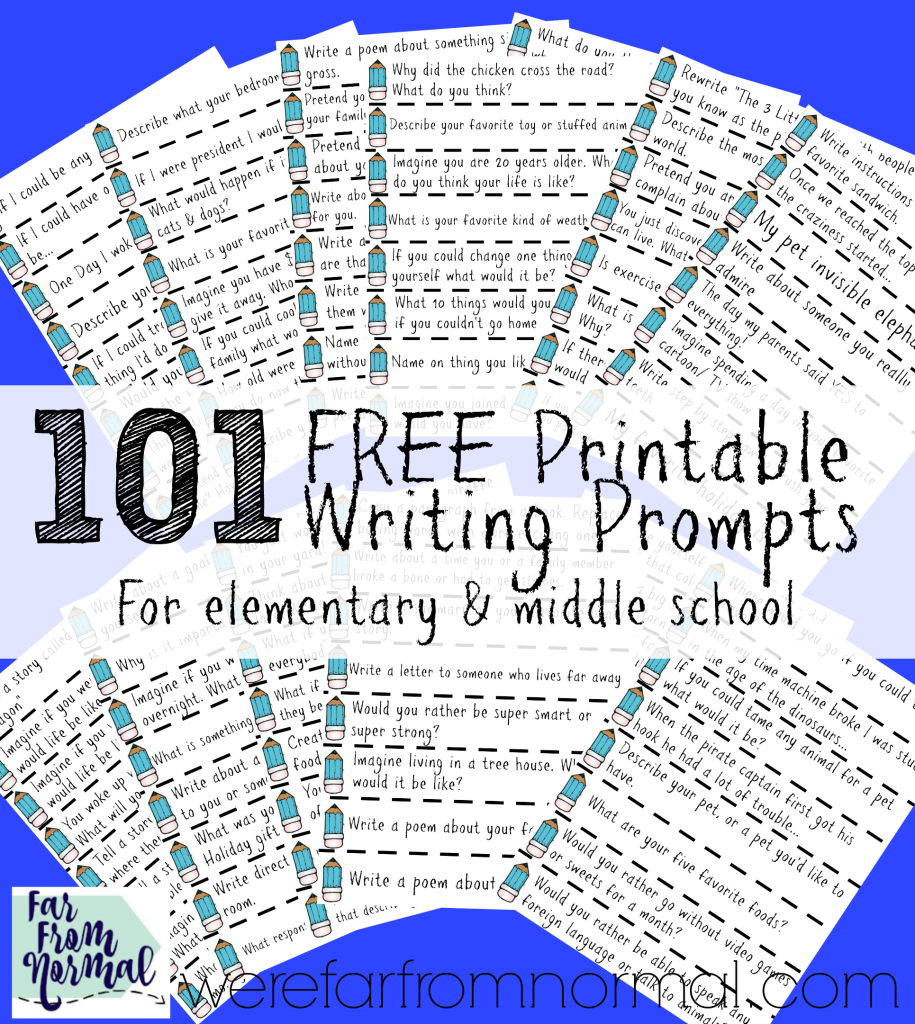101 Free printable writing prompts for writing jar