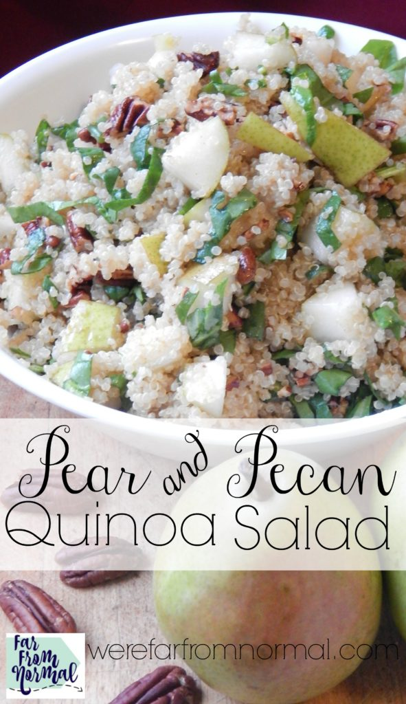 YUM!! This pear and pecan quinoa salad is so delicious! The sweetness of pears and the crunch of toasted pecans go perfectly with the quinoa! Delicious!