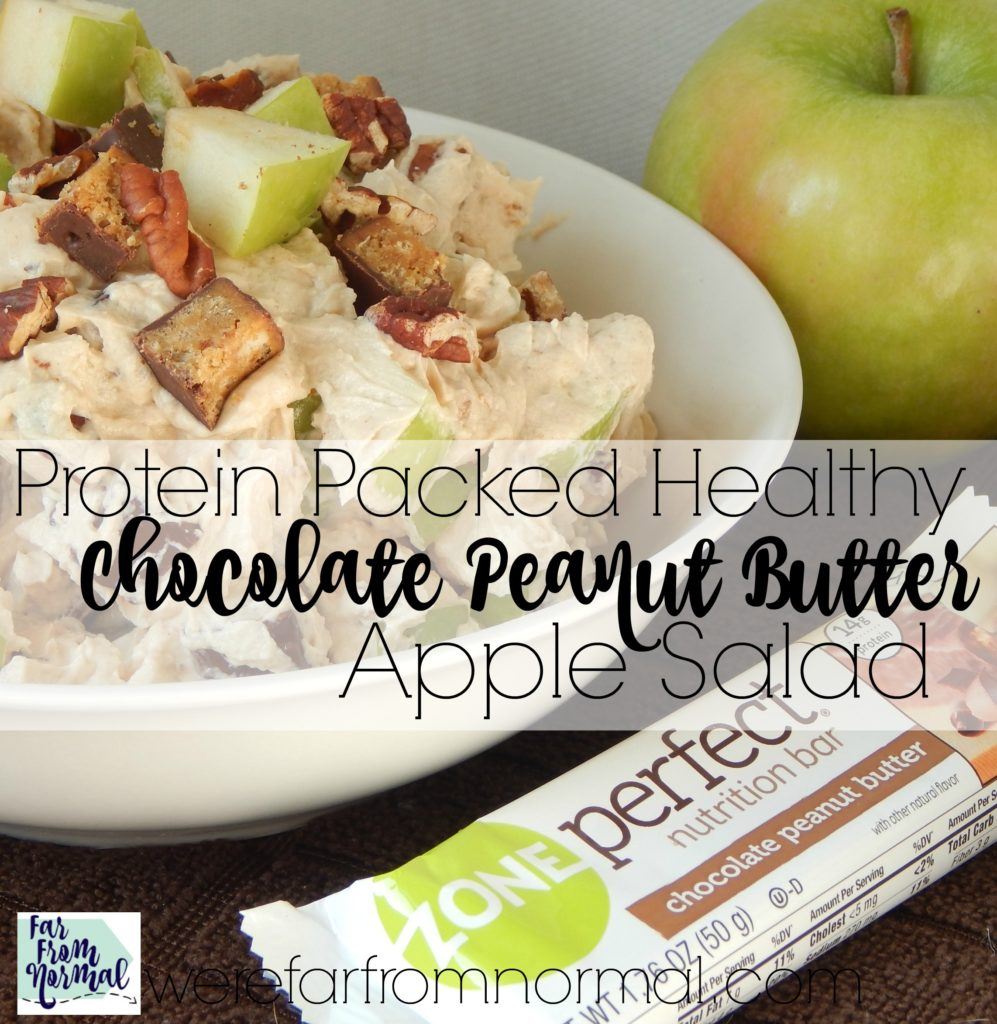 You'd never guess this chocolate peanut butter apple salad is healthy! Made with Greek yogurt and ZonePerfect bars it is packed with protein and so delicious!