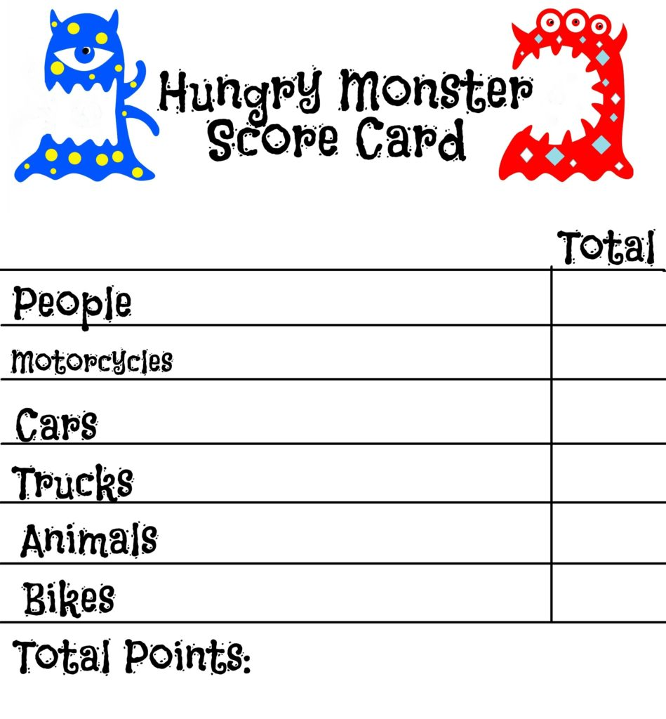 Hungry Monster score card
