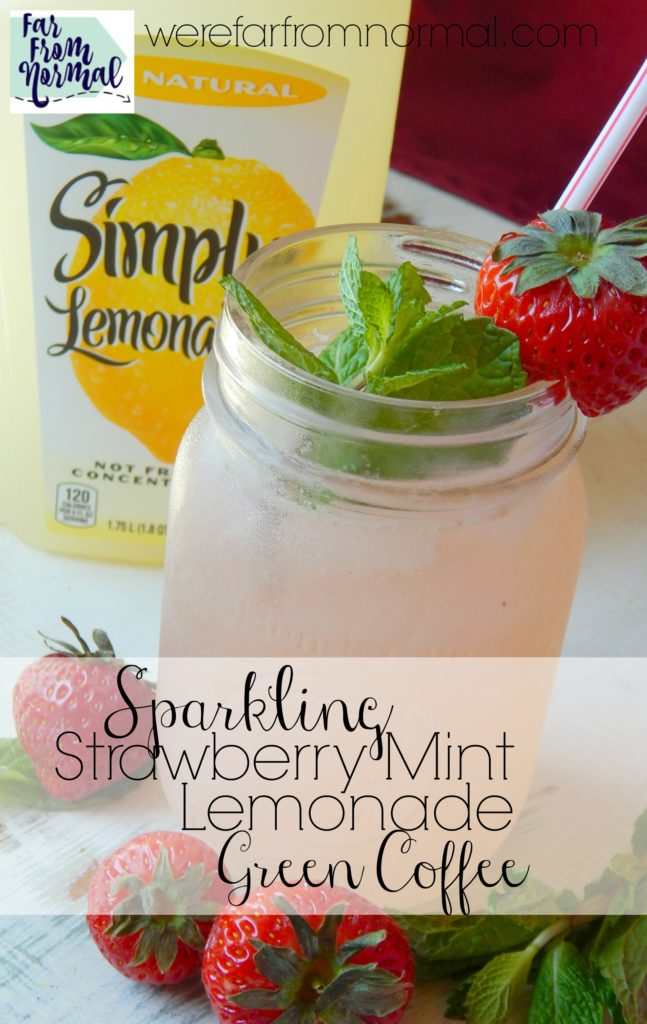 Need the perfect pick me up for a summer afternoon Try this delicious lemonade! A little fizz, strawberry, mint and a boost from green coffee it's love at first sip!