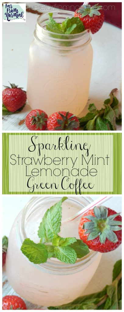 This is the perfect pick me up on a hot summer day!! Refreshing strawberry mint lemonade, a little fizz and gree coffee to perk you up!! Delicious!