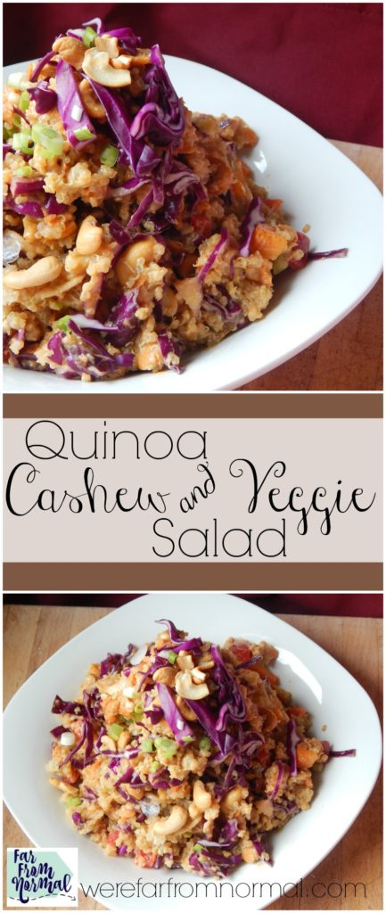 This quinoa salad is full of crunch and flavor! Full of veggies and a little Asian flair it is delicious!!