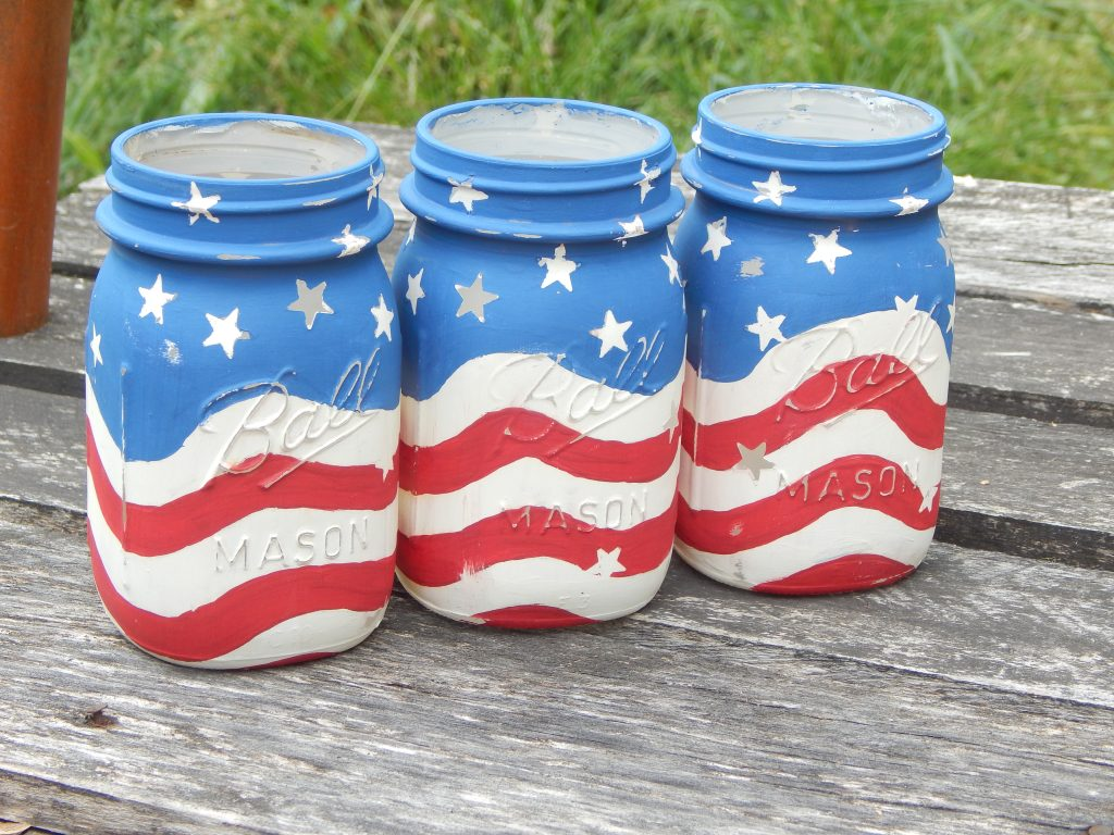 american flag mason jar candle holders