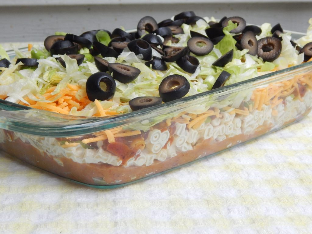 Mexican 7 layer pasta salad