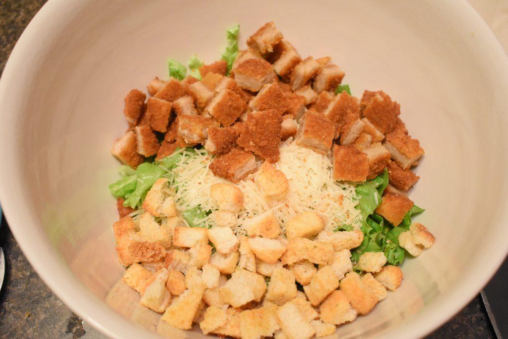 vegetarian chicken ceasar pasta salad