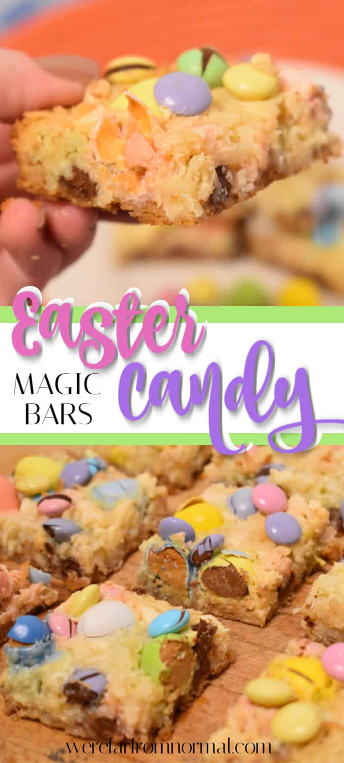 Do you love Easter chocolates? Cook up these Easter candy magic bars, that are loaded with M&M's, Reese's Pieces Eggs, Cadbury mini eggs and a ton of other deliciousness!!