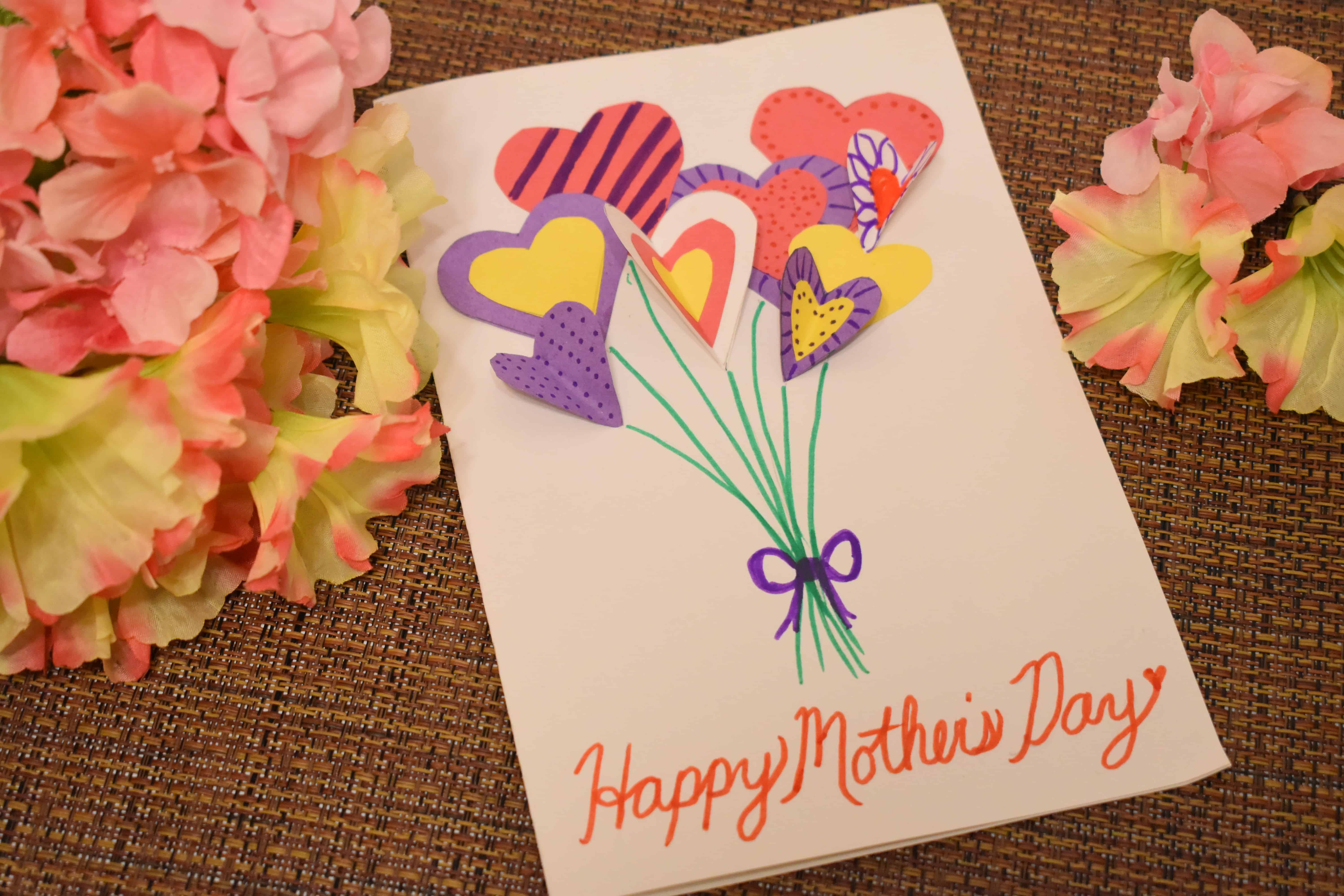 heart bouquet homemade mother's day card  far from normal