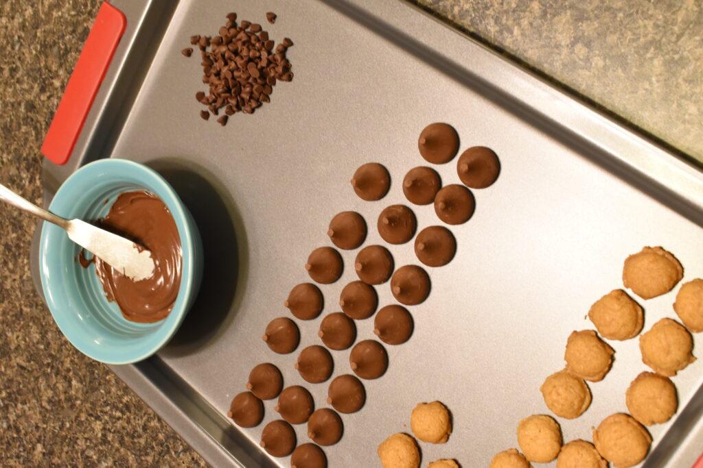 assembling acorn cookies