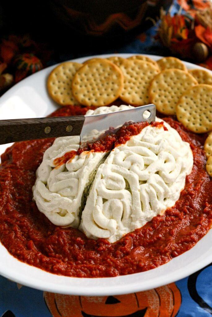 Halloween Snacks Brain Cheeseball