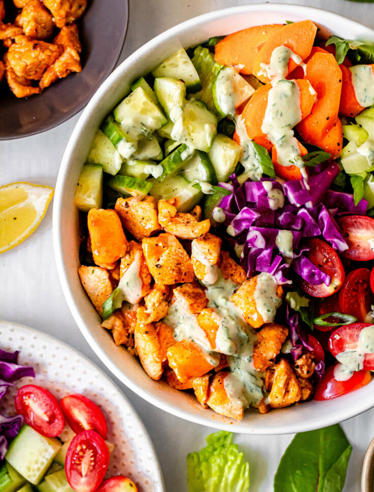 Buffalo Chicken Salad with Tahini Ranch Dressing (Whole30, Paleo, Gluten-Free, Dairy-Free)