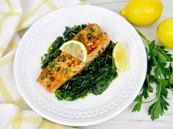 Easy Salmon Piccata with Spinach- Keto and Low Carb