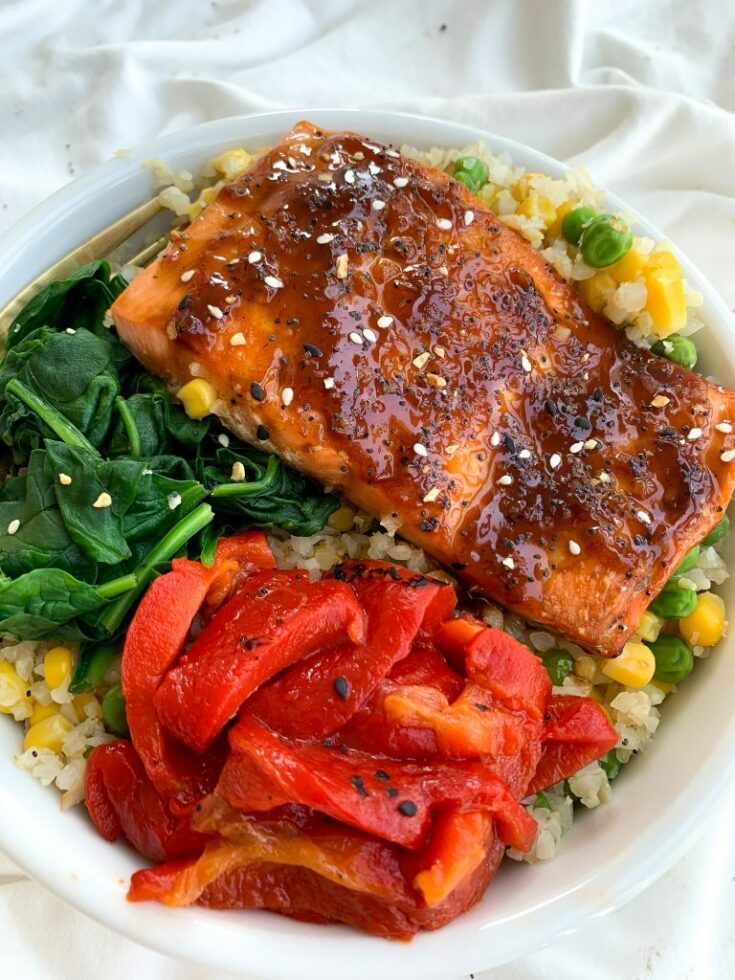 Honey Garlic Salmon Bowls | Easy Dinner For Two In Under 15 minutes!