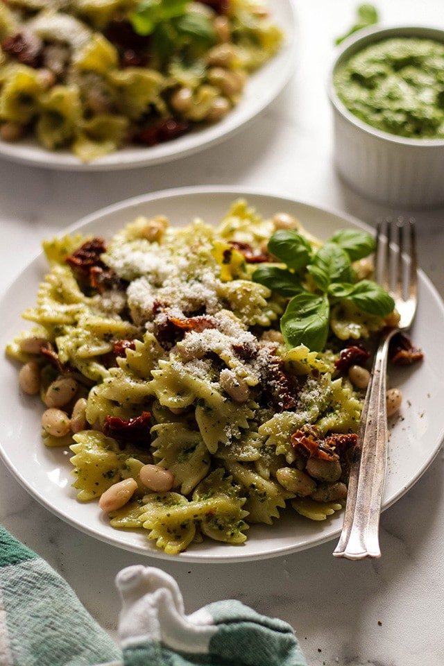 Vegan Pesto Pasta with Beans and Sun-Dried Tomatoes • Happy Kitchen