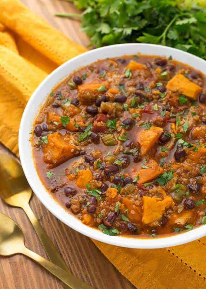 Instant Pot Sweet Potato Quinoa Chicken Chili
