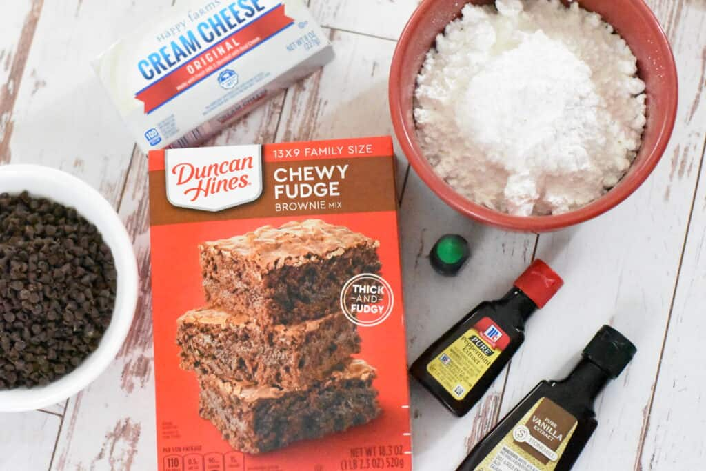 Ingredients for mint chocolate brownies