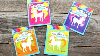Free Printable Rainbow Unicorn Valentines!