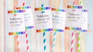 Rainbow Marshmallow Pops with Free Rainbow Valentine Printable
