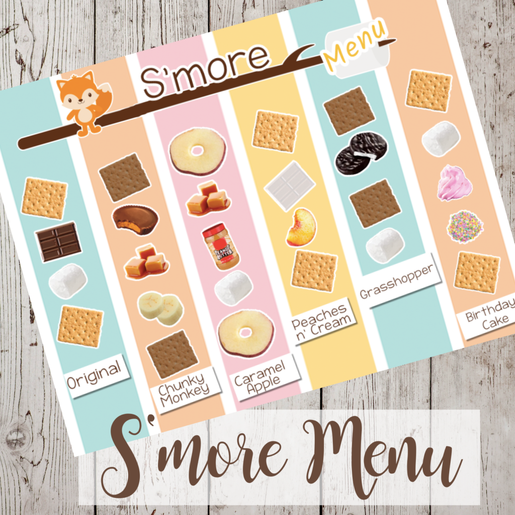 A printed s'mores menu with a fox at the top. Colored colums divide the page and each one has pictures of a s'more in it . There are graham crackers, peanut butter cups. marshmallows, peanut butter, apples, peppermint patties, bananas and caramels