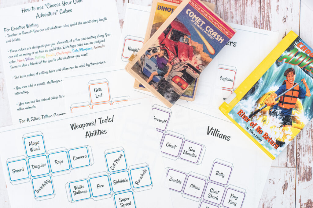 Printed sheets of story cubes and instructions with 2 choose your own adventure books