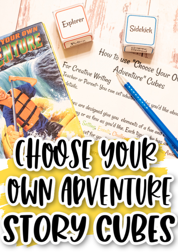 Choose your own adventure book , printable story cubes and printed instructions with a pencil