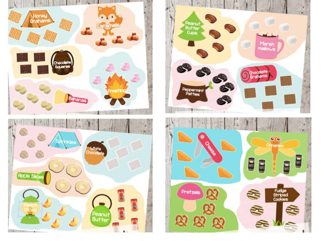 4 pages of illustrated s'mores ingredients including graham crackers, chocolat graham crackers, banans, frosting, peppermint patties, peanut butter cups, chocolate, marshmallows, sprinkles, apple slices, white chocolate, peaches, peanut butter, cheese, cinnamon, pretzels and fudge striped cookies