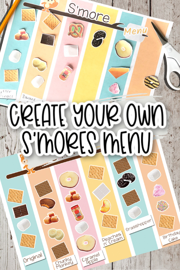 Graphic with a s'mores menu showing several different s'mores combinations including original, chunky monkey, caramel apple, Peaches & cream, grasshopper and birthday cake
