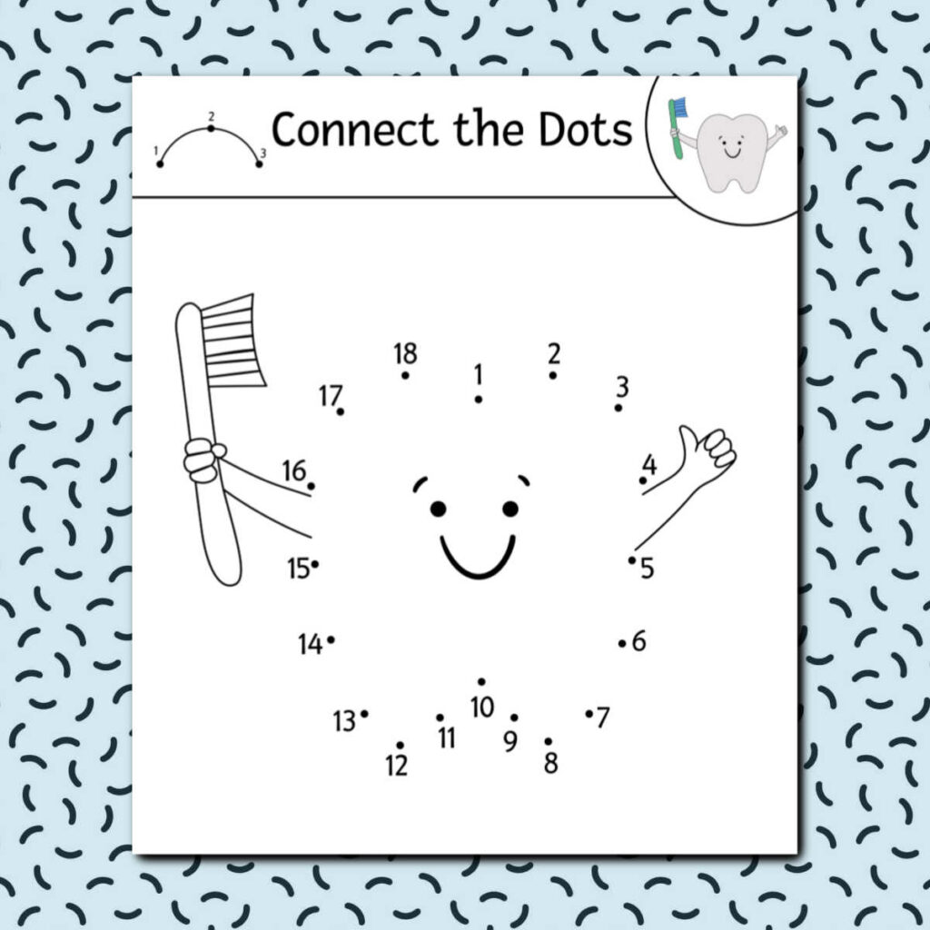 Connect the dots activity sheet in the shape of a tooth holding a tooth brush on a patterened light blue background