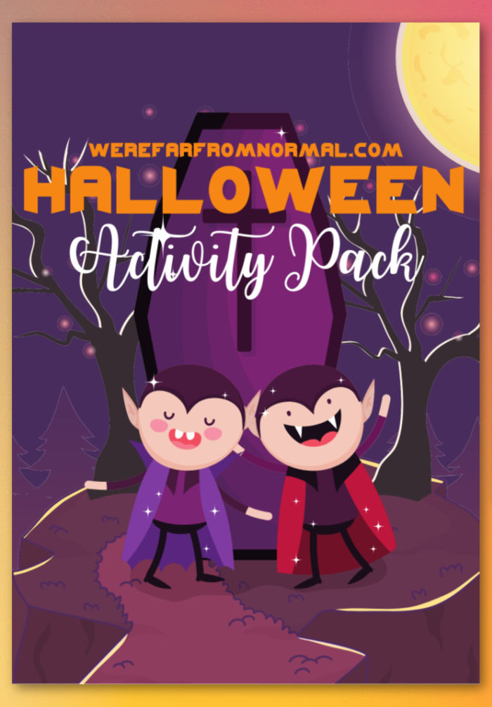 The cover of a Halloween activity book, with 2 cartoon vampires on the front