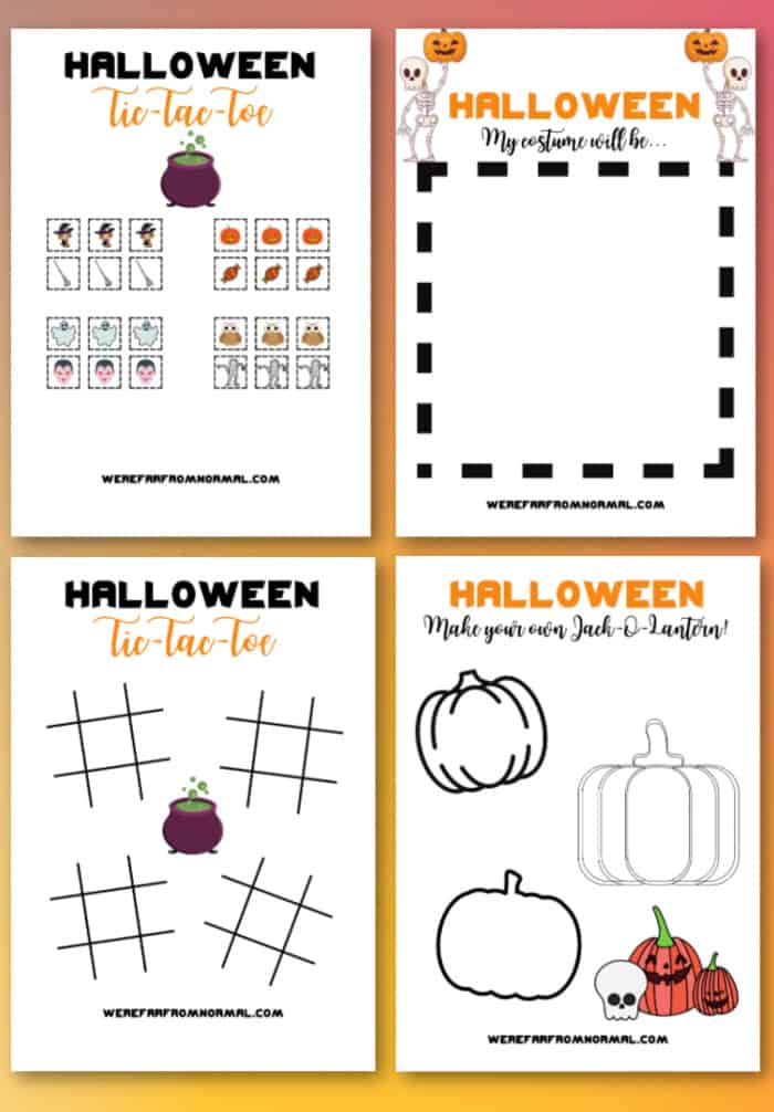"A graphic with four pages of a Halloween activity book including ""Tic Tac Toe""  ""Tic Tac Toe playing pieces""  ""Halloween Costume design"" and ""Design a Jack O Lantern"""