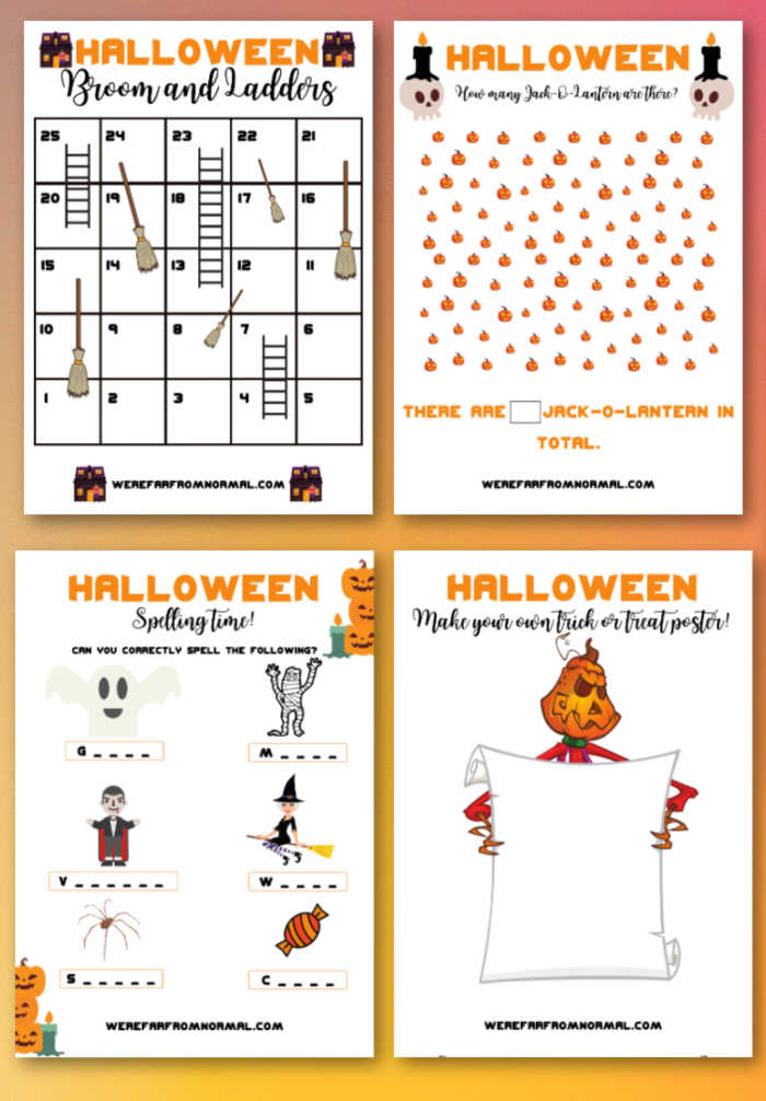 "a graphic with 4 pages of a Halloween Activity book including ""brooms & ladders"" ""count the Jack O Lanterns"" ""Spelling Time"" and "" Make Your Own Trick or Treat Poster"""