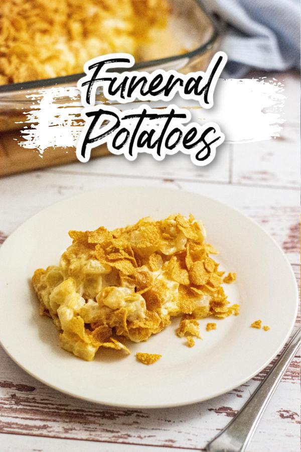 White plate with cheesy potato casserole