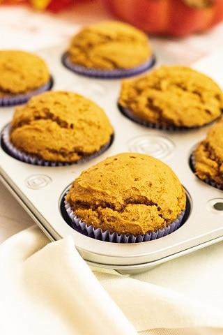 Pumpkin muffins in a muffin pan