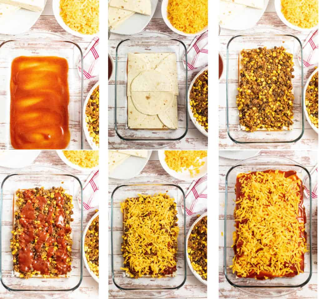 step by step pictures of the assembly of enchilada casserole