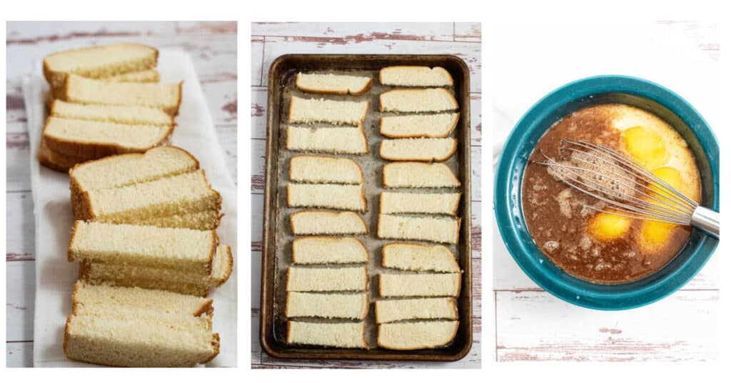 step by step instructions for french toast sticks. Bread sliced into sticks, bread sticks spread out on baking sheet, milk eggs, sugar and cinnamon mixed in a large bowl with a whisk