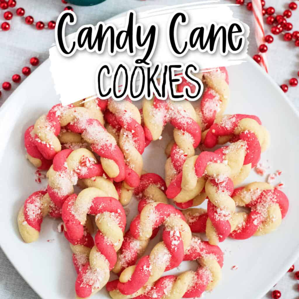 candy cane cookies on a white plate