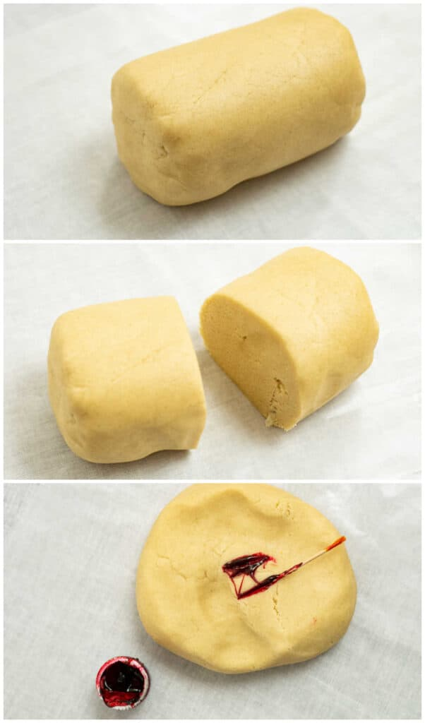 A collage of pictures, a log of dough, the dough cut in half, red food coloring being added to the dough.