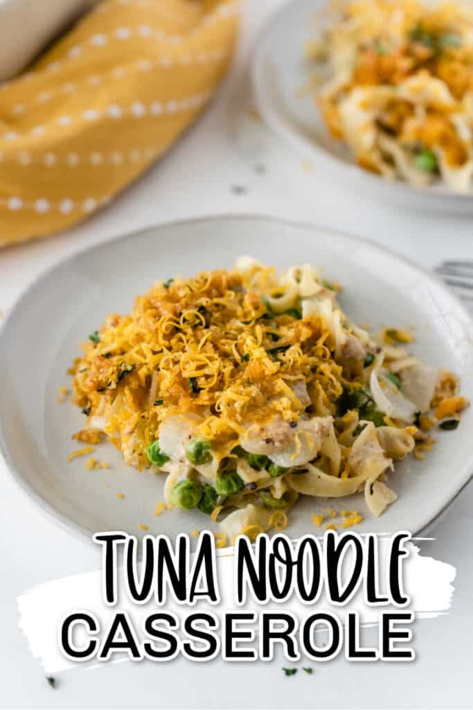 A scoop of tuna noodle casserole on a white plate
