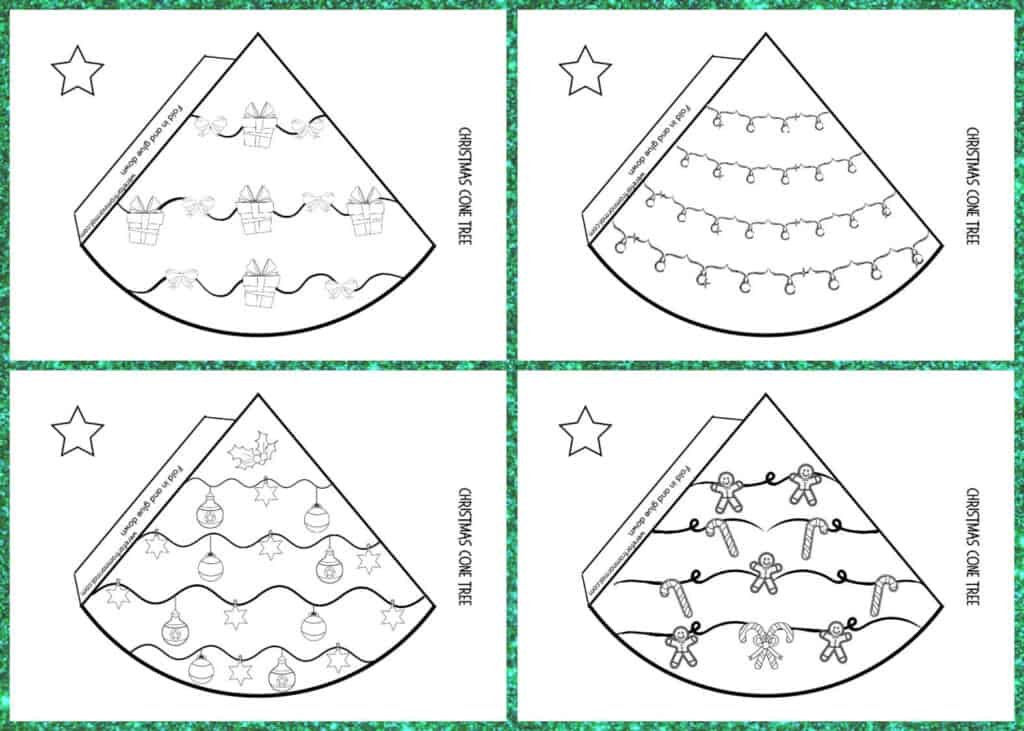 4 designs for a cone Christmas tree