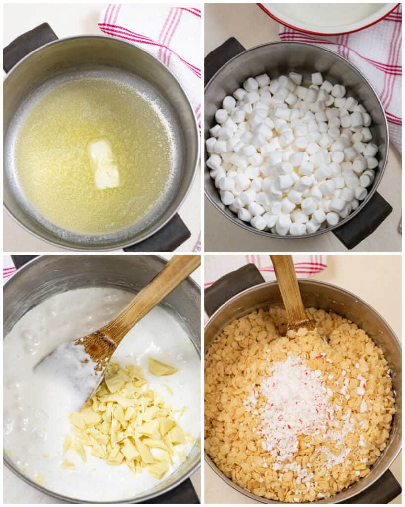 a collage of pans, one with melted butter, one with marshmallows, one with melted marshmallows and white chocolate and one with rice krispies cereal and crushed peppermint