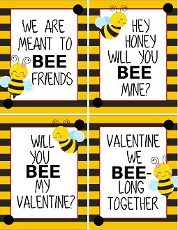 Sheet of bee valentines