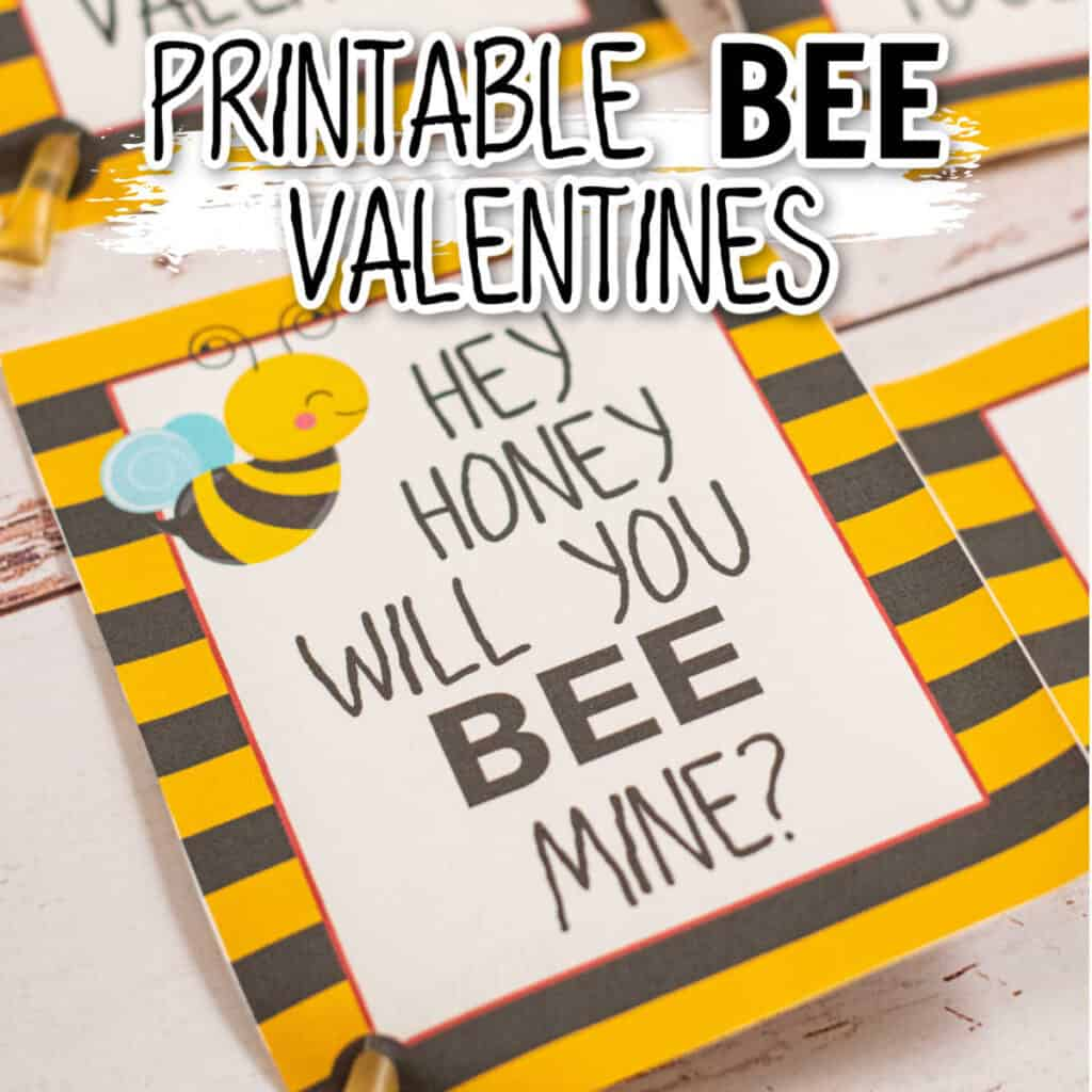 "Valentine with a picture of a bee that says ""Will you bee mine?"""
