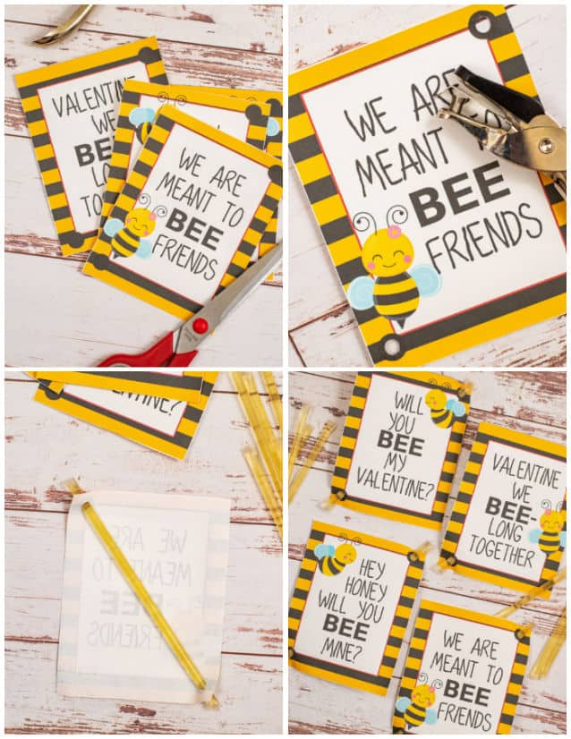 Steps for assembling bee valentines