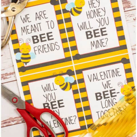 Printable Bee Valentine Cards