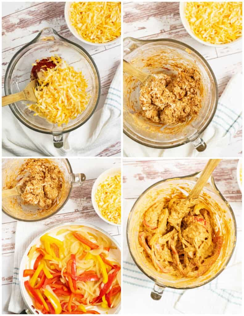 a collage of steps for making chicken fajita casserole. A clear bowl with cheese, cream cheese, peppers onions and spices mixed together